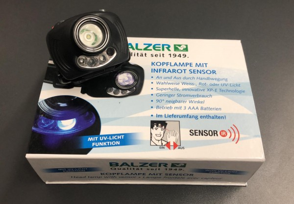 Balzer LED Kopflampe mit Sensor UV Red Geschenkkarton