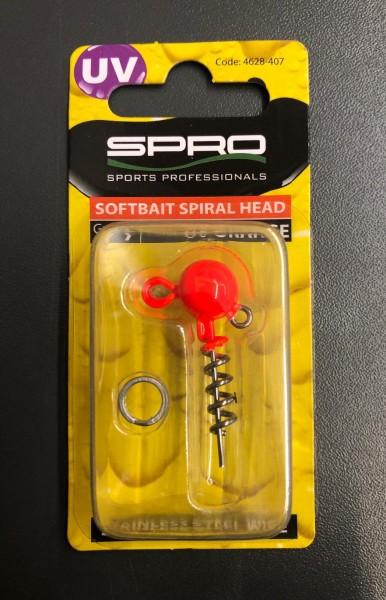 Spro Spiral Head Jigkopf UV Orange Red 5g 7g 10g 15g 20g 25g