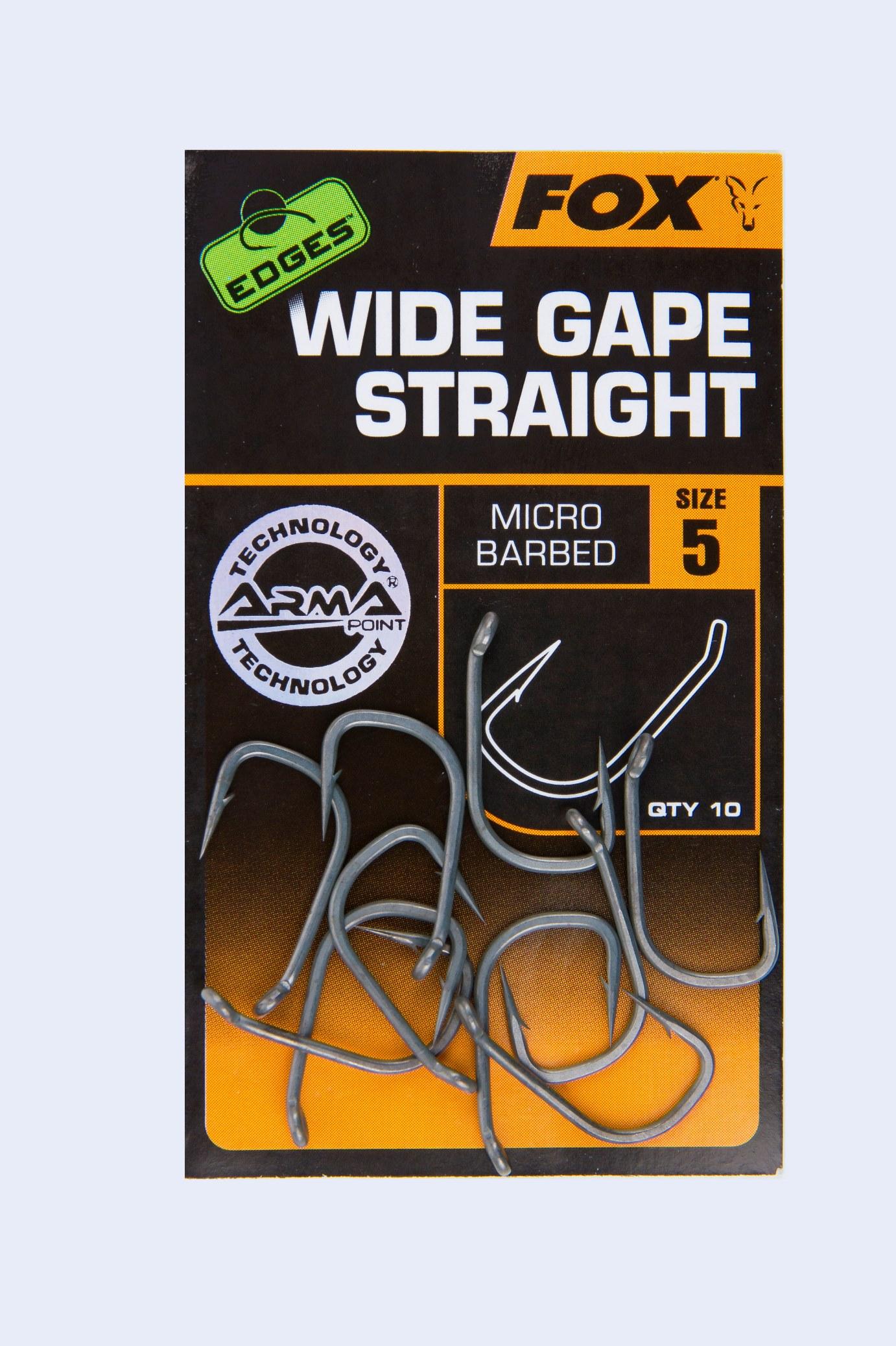 Fox-Edges-Hooks-Wide-Gape-Straight-Micro-Barbed-10-Haken-Gr-2-4-5-6-7-8-Arma