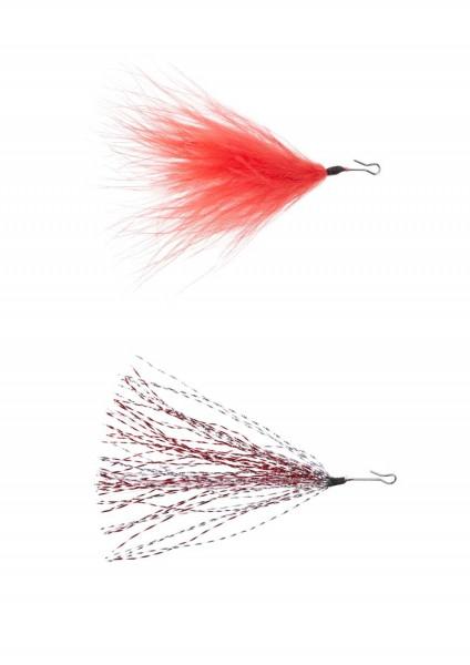 Balzer Lure Tuner Glitter Einhänger Rot-Silber, Marabou 23mm 30mm 35mm