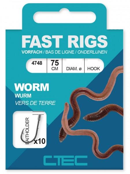 Spro C-Tec Worm Wurm Baitholder gebunde Zielfischhaken Gr. 1 2 4 6 8 10 75cm