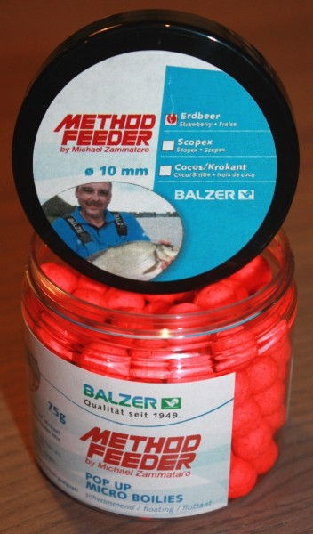 Balzer Method Feeder Master Haken Pellets Pop Ups 10mm Scopex Erdbeere Kokos