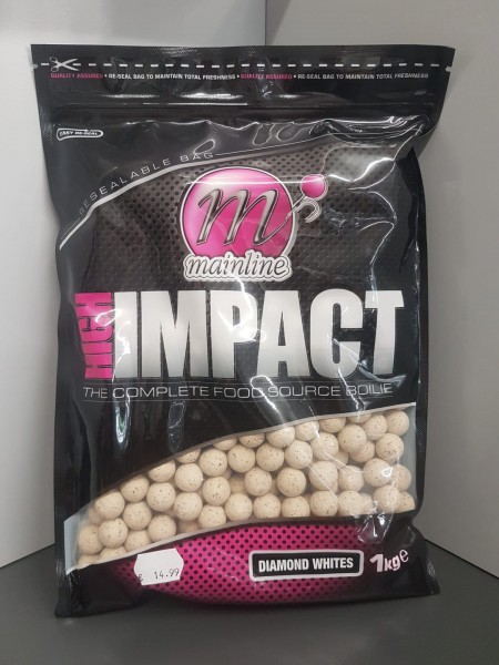 Mainline High Impact Boilies Diamond Whites 16mm, 1 kg