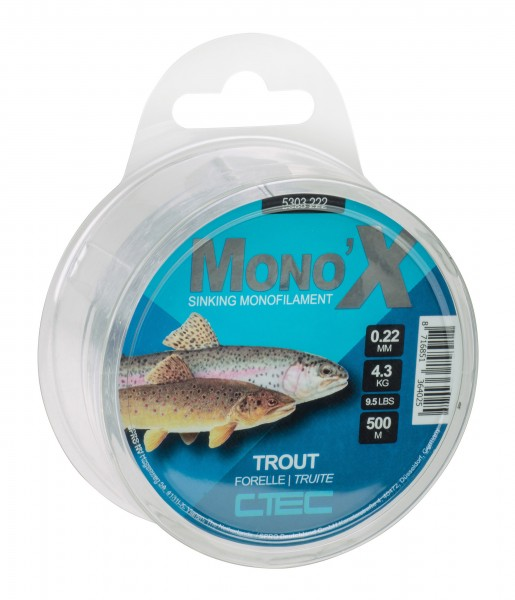 Spro C-Tec Forelle Trout monofile Schnur 0,20mm 0,22mm 0,24mm 0,26mm Clear 500m