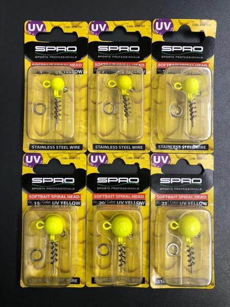 Spro Spiral Head Jigkopf UV Yellow 5g 7g 10g 15g 20g 25g