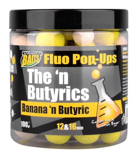 Strategy Baits Pop Ups 12 & 16mm BANANA'N BUTYRIC 100g