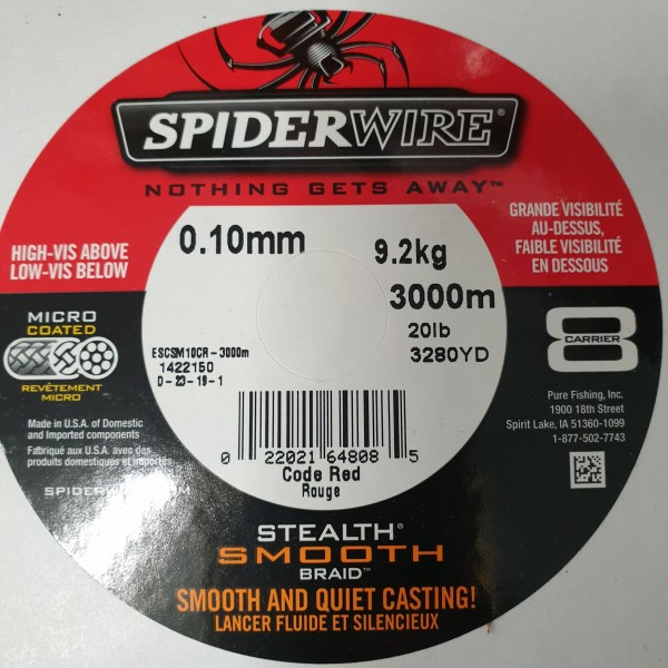 Spiderwire Stealth Smooth 8 Code Red je 10m 9,2kg 20lb 0,10mm